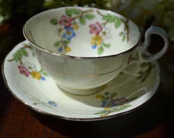 Aynsley Fine Bone China Tea Cup and Saucer, Cream and Multi-Colored Floral, Gold Gilt, England