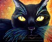 My Kahlyopee, Black Cat of Mystery, Black Cat Print, celebrate, festive, Magic- halloween- sparkle, Mystery