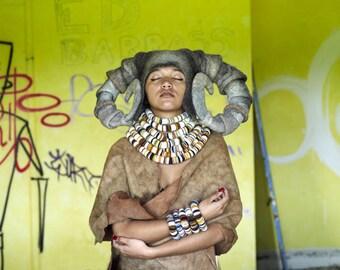 MADE TO ORDER: Hand felted 'Ram's Horns' headdress