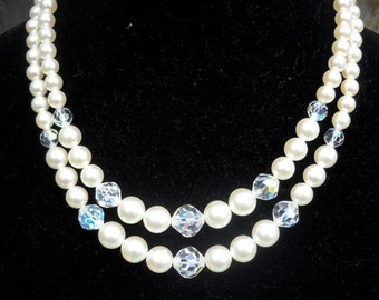 Vintage Necklace, Faux Pearls and Crystals, Double Strand, Beautiful, Retro