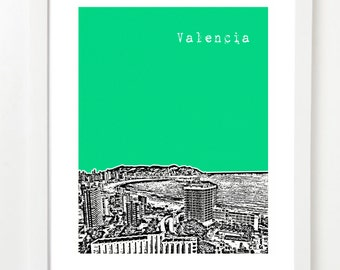 Valencia Spain  - City Skyline Series Poster - Valencia Skyline Print - Spanish Art