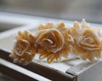 Sunday Best Shabby Flowers Headband (Pale Yellow and Ivory)