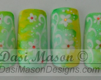 Spring Flowers Instant Acrylic Nail Set