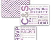Customizable Modern Bold Font Initials Chevron Wedding Invites - Printable Digital DIY File or Professionally Printed Invitations