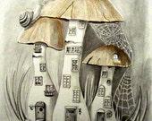 Original pencil drawing, fantasy fairy art, fairy mushroom houses, pencil art, fantasy pencil art, fantasy drawing