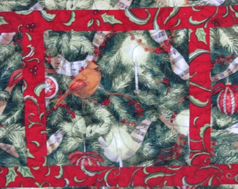Christmas Quilted Table Runner - Table Topper - Cardinals in the Christmas Tree