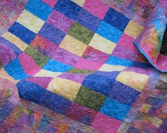 Lap Quilt - Sofa Quilt - Colorworks Spring Batik Lap Quilt