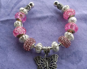 Pink and silver Butterfly, Euro style bracelet