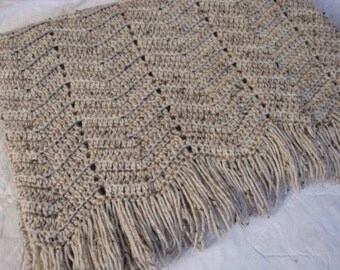 Crochet Wave Ripple Afghan in Oatmeal with brown and black flecks and fringe