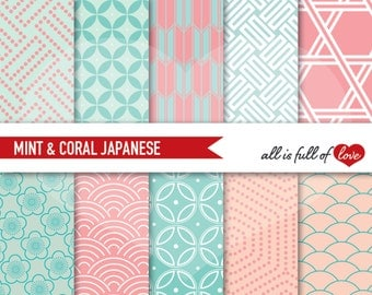 Coral Mint Paper, digital papers, commercial use, scrapbook papers Japanese background Valentines Digital Paper