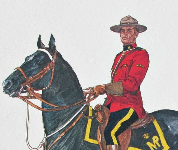 Mid Century Vintage Tom McNeely RCMP Sergeants Prints Set Of