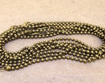 """5Necklaces 20""""  3m Ball Chain Ball Antique Brass bronze Chain Jewelry Supplies Jewelry Finding Charm Chain Necklaces"""