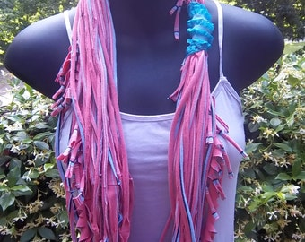 Upcycled  Fringed Jersey Infinity Scarf