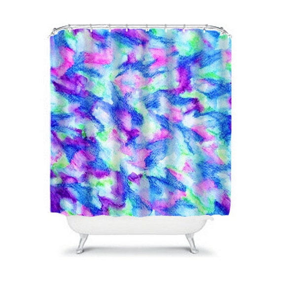 purple and turquoise shower curtain. THE FLOCK 2  Fine Art Painting Shower Curtain Washable Home Decor Mint Green Purple Turquoise Blue Abstract Modern Stylish Bathroom