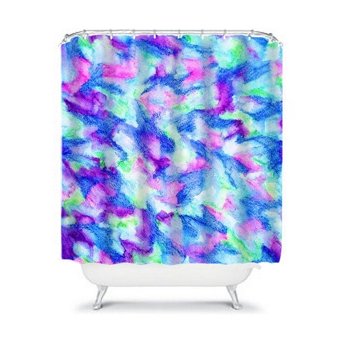 The flock 2 fine art painting shower curtain washable home for Blue and purple bathroom ideas