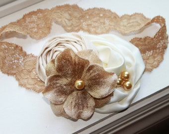 Gold and Cream Baby Headbands, Christmas Headband, Baby Flower Headband, Newborn Headband, Baby Girl Headband, Photography Prop