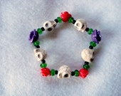 The Book of Life~Sugar Skull~Day of the Dead~ Skull and Roses Stretch Bracelet