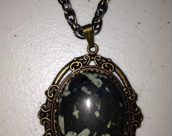 Chinese Writing Stone in Bronze Necklace