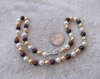Vintage Necklace- Wine-Cream -White Pearl Beaded-Hand Knotted -N 756