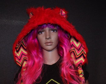 Animal Hood - Red Bear Shortie - UV Lining!