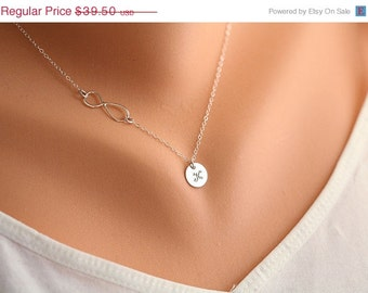 ON SALE Infinity necklace with initial charm,Sideways,Initial necklace,Friendship,Personalized initial,Everyday