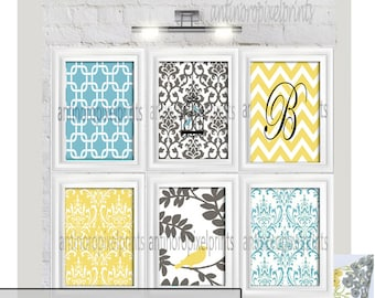 Your Personalized Letter Damask Picture Wall Art Yellow Turq Grey  Modern - Set of (6) - 8x10 Prints -   (UNFRAMED)