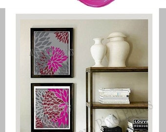 Floral Digital Wall Art Burgundy Pink Grey Wall Decor  -Set of 2 - 8x10 Prints - Custom Colors Sizes Available  (UNFRAMED)