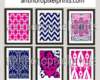 Navy Pink Fuchsia Digital Print Wall Art Prints Vintage / Modern Inspired  - Set of (6) Wall Art Prints - (UNFRAMED)