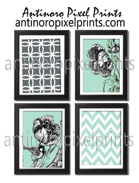 Victorian floral Bird Inspired Green / Grey / White Art Prints Collection -Set of 4 - 5x7 Prints -   (UNFRAMED)