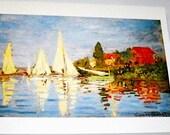 Vintage Monet Art Print, Regatta of Argenteuil 1872 France, Impressionism giclee, nautical home decor, Mint Condition