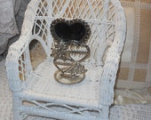 Triple Heart and Roses Silver plated Earring Holder with Mirror.