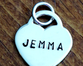 Heart Personalized Charm- Hand Stamped- Sterling Silver- Custom Name Pendant- Couples Jewelry-Anniversary Gift