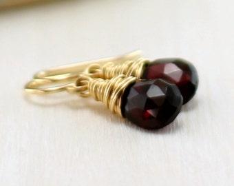 Red Garnet Earrings, 14k Gold Filled Burgundy Pyrope Garnet Yellow Gold January Birthstone Dangle Earrings Wire Wrapped