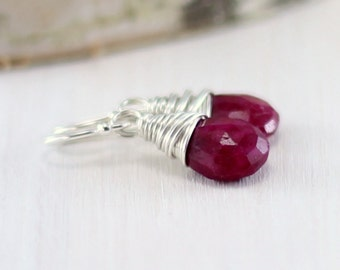 Genuine Ruby Earrings, Sterling Silver July Birthstone Jewelry Red Gemstone Drop Earrings Wire Wrapped Earrings