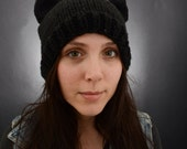 Knitted hat with cat ears (made to order)