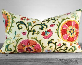 Pillow Cover - P Kaufmann Suzani Jewel Fabric  - Vivid Jewel Tones and Ivory Pillow - SAME FABRIC both sides - Pick Your Pillow Size