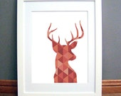 Deer Print, Deer Antlers Wall Art, Triangle Geometric Deer Print, Red Wall Art, Deer, Geometric Deer, Orange Wall Print, Deer Antler