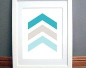 Aqua Blue Beige Chevron Arrows, Chevron Wall Art, Chevron Wall Print, Blue, Beige Art, Aqua Wall Art, Printable PDF, Instant Download