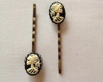 Halloween/Day of the Dead Skeleton Cameo Bobby Pins (2)