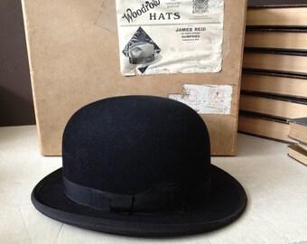 Black Bowler Derby Hat, Made in England, Original Box