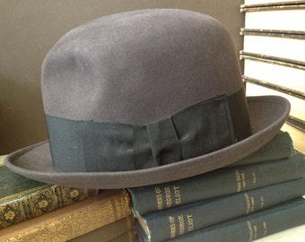 Brooks Brothers Felt Fedora Hat, Lock Co London England, Charcoal Grey with Grosgrain Ribbon