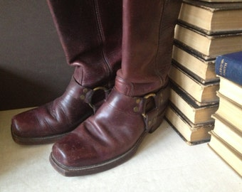 Vtg Frye Rustic Brown Leather Biker Harness Boots // Size 8 D
