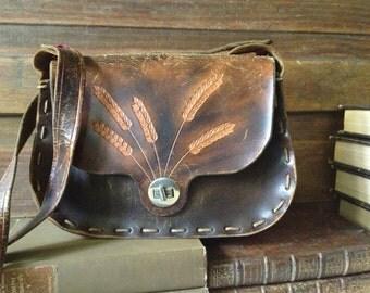 Vintage  Rustic & Earthy Brown Tooled Leather Satchel Handbag ~ Wheat Grass Design