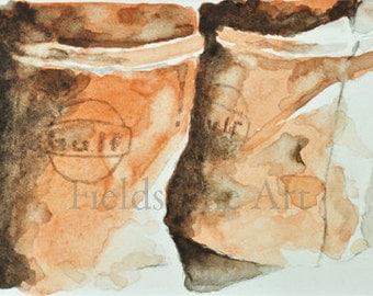 original ACEO watercolor painting barrels art ooak