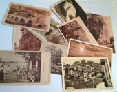 10 French Postcards Sepia, Vintage French Postcards for Mixed Media, Collage, Scrapbooking