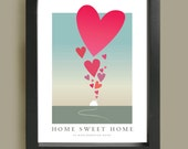Home Sweet Home Poster Print, New home, Housewarming gift, House and Hearts Love print, Personalised address home print, Heart print