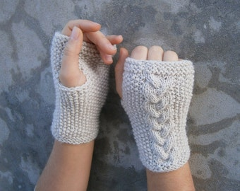 Knit Fingerless Gloves Mittens Arm Warmers With Plait Biege