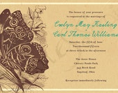 Printable Wedding Invitation - 5x7 - Nature Butterfly - Vintage, Rustic, Woodland, Customized DIY - Brown, Cream, Teal