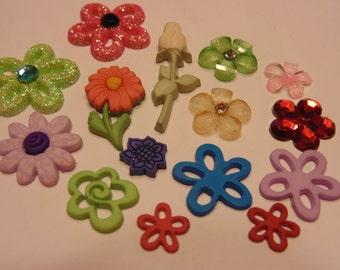 15 piece flat back embellishment flower mix, 12-35 mm (15)