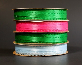 Narrow Satin Picot or Feather Edge Ribbon - Four Rolls of Three Sixteenths by Six Yards - Two Green - One Baby Blue - One Pink